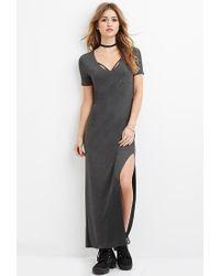 Forever 21 - Gray V-neck Maxi Dress - Lyst