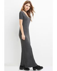 Forever 21 | Gray V-neck Maxi Dress | Lyst