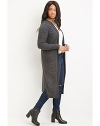 Forever 21 - Gray Plus Size Hooded Longline Cardigan - Lyst
