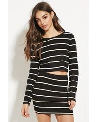 Forever 21   Black Striped Crop Top   Lyst