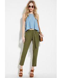 Forever 21 | Green Belted Linen-blend Pants | Lyst
