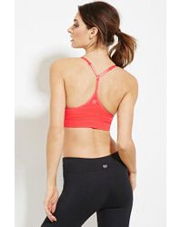 Forever 21 - Pink Low Impact - Stripe Sports Bra - Lyst