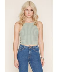 Forever 21 | Gray Ribbed Knit Cropped Cami | Lyst