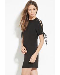 Forever 21 | Black Contemporary Lace-up Shift Dress | Lyst