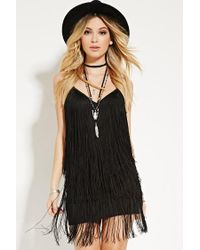Forever 21 | Black Fringe Cami Dress | Lyst