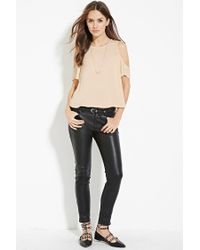 Forever 21 - Metallic Contemporary Open-shoulder Satin Top - Lyst