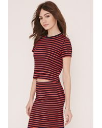 Forever 21 | Blue Stripe Zipped Top | Lyst