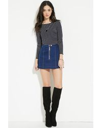 Forever 21 - Blue Women's Striped Wide-neck Top - Lyst