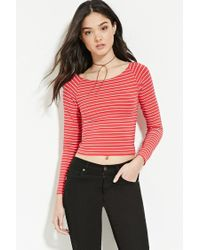 Forever 21 - Red Women's Striped Wide-neck Top - Lyst