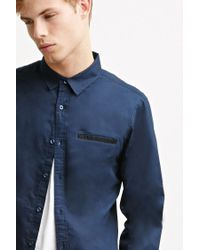 Forever 21 | Blue Contrast-trimmed Oxford Shirt for Men | Lyst