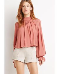 Forever 21 - Natural Contemporary Genuine Suede Flat-front Shorts - Lyst