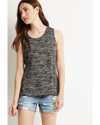 Forever 21 - Black Contemporary Marled Slit-back Tank - Lyst