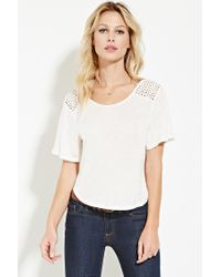Forever 21 | Natural Crochet-paneled Top | Lyst