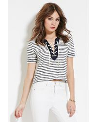 Forever 21 | White Striped Lace-up Top | Lyst