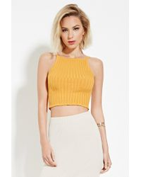 Forever 21 | Metallic Ribbed Crop Top | Lyst