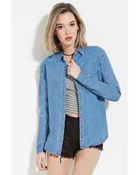 Forever 21 | Blue Denim Buttoned Shirt | Lyst
