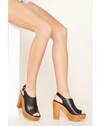 Forever 21 | Metallic Faux Leather Platform Sandals | Lyst
