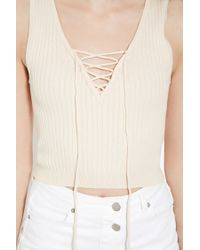 Forever 21 - White Lace-up Sweater Top - Lyst