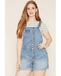 27922a680b80 Lyst - Forever 21 Plus Size Denim Overall Shorts in Blue