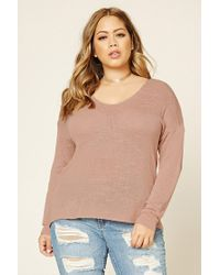 Forever 21 | Pink Plus Size Slub Knit Sweater | Lyst