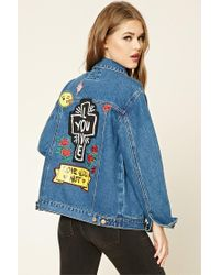 Forever 21 | Blue Love You Patched Denim Jacket | Lyst