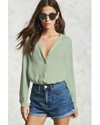 Forever 21 | Green Sheer Buttoned Blouse | Lyst