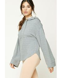 Forever 21   Gray Dolphin Hem Heathered Hoodie   Lyst