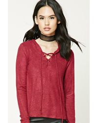 Forever 21 | Red Lace-up Hooded Sweater | Lyst
