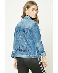 Forever 21 | Blue Distressed Graphic Denim Jacket | Lyst