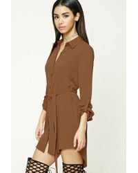 Forever 21 | Brown Belted Shirt Dress | Lyst