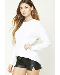 Forever 21 | White Cotton Dropped-sleeve Tee | Lyst