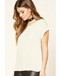 Forever 21 | Natural Sheer Cuffed-sleeve Top | Lyst