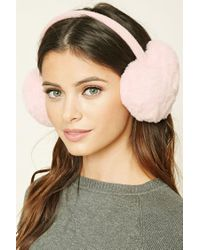 Forever 21 Pink Faux Fur Heart Ear Muffs