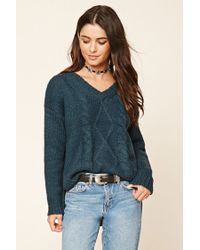 Forever 21   Blue V-neck Cable Knit Sweater   Lyst