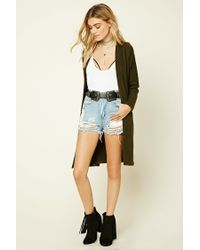 Forever 21 | Green Marled Open-front Cardigan | Lyst