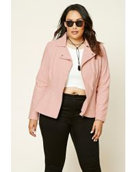 Forever 21 | Pink Plus Size Quilted Moto Jacket | Lyst