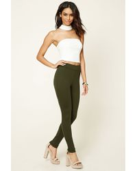 Forever 21 | Green Stretch-knit Zippered Pants | Lyst