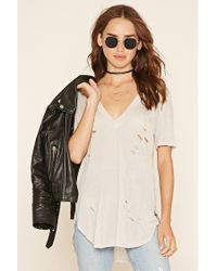 Forever 21 | Natural Distressed Longline Tee | Lyst