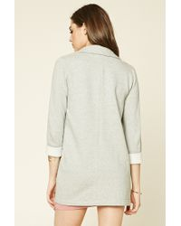 Forever 21 - Gray Longline Heathered Overcoat - Lyst