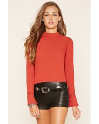 Forever 21 | Red Crochet-paneled Top | Lyst