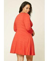Forever 21 - Multicolor Plus Size Surplice Skater Dress - Lyst