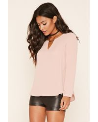 Forever 21 - Pink Chiffon Cutout-neck Blouse - Lyst
