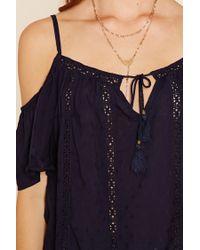 Forever 21 - Blue Crocheted Open-shoulder Top - Lyst