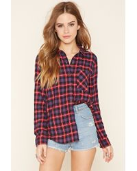 Forever 21 - Red Plaid Flannel Shirt - Lyst