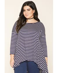 Forever 21 | Blue Plus Size Stripe Trapeze Top | Lyst