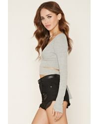 Forever 21 - Gray Cutout Self-tie Crop Top - Lyst