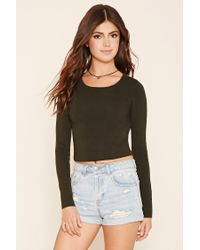 Forever 21 | Green Cropped Crew Neck Sweater | Lyst