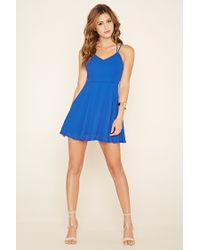 Forever 21 - Blue Double-strap Skater Dress - Lyst