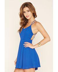 Forever 21 - Blue Double-strap Skater Dress - Lyst