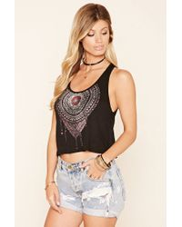 Forever 21 - Black Ornate Graphic Tank - Lyst